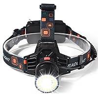 KuaSimple LED ヘッドライト 充電式 高輝度 8000ルーメン防水仕様 18650 3段階の点灯モード作業灯 防災 登山 夜釣り