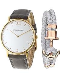[ポールヒューイット]PAUL HEWITT メンズ レディース ユニセックス Sailor Line 39mm ゴールドケース グレー レザー ブレスレットセット PH-SA-R-St-W-13M/PH-PH-L-R-Gr-M 腕時計[並行輸入品]