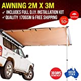 2 x 3m Kings Side 4WD Awning UPF 50+ Waterproof incl Mounting Kit