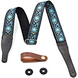 FluTune Music Guitar Strap Jacquard Weave Style Straps For Electric Guitar, Acoustic Guitar, Bass With Genuine Leather Ends(Blue)