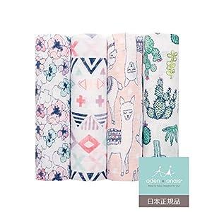 aden + anais (エイデンアンドアネイ) 【日本正規品】モスリンコットン おくるみ4枚セット(トレイルブルーム) 4pack swaddles (trail blooms) 2073