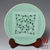 陶器(青磁)プレート アラベスク柄 丸皿 中皿(18.3cm)