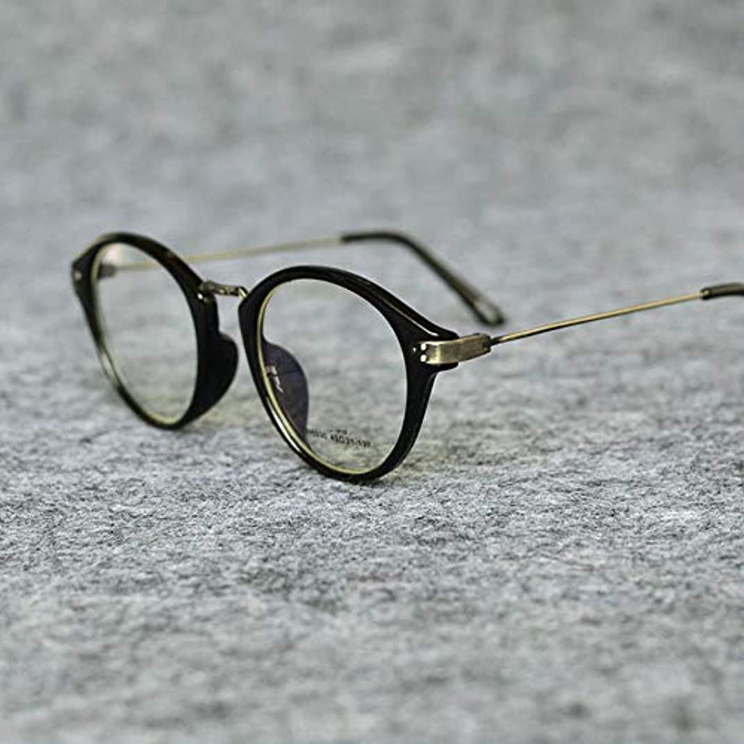 角度サラダ外交問題ビンテージラウンド老眼鏡|男性と女性の老眼鏡の抗放射線抗疲労| Hd樹脂レンズ、超軽量フレーム|ヒョウ色、黒
