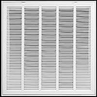 """25"""" x 25スチールReturnエアフィルタグリルfor 1""""フィルタ–固定ヒンジ–天井推奨–HVACダクトカバー–フラットStamped面外側–ホワイト[寸法: 27.5"""" W x 27.5"""" H ]"""