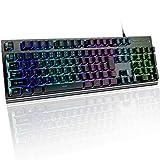 lcsriya 有線キーボード 日本語/JP配列 メカニカルな触感 1680万色RGB usbキーボード 防水 106キー 19キー防衝突 ゲーミングキーボード (ブラック)