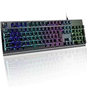 lcsriya 有線キーボード 日本語/JP配列 メカニカルな触感 1680万色RGB usbキーボード 防水 106キー 26キー防衝突 ゲーミングキーボード (ブラック)