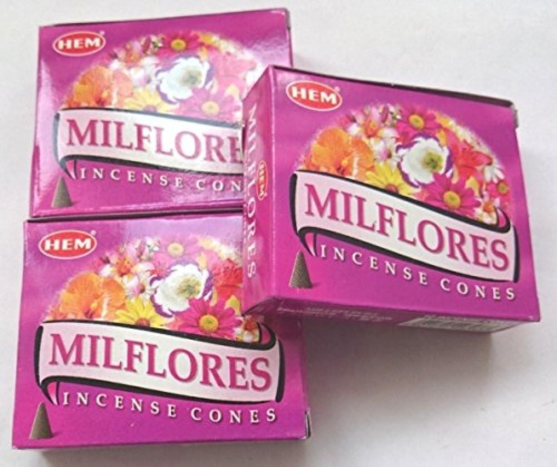 社会さびた割り当てHEM(ヘム)お香 ミルフローレス コーン 3個セット