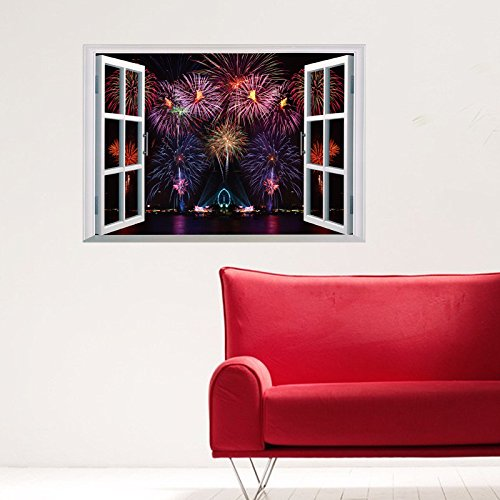 EMIRACLEZE Cyber Monday Fakeウィンドウwith FireworksバーストHappy New Yearリムーバブル壁画壁デカールソファ背景とホームの装飾