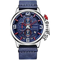 CURREN Men's Watch Analog Display Quartz Watches with Leather Band Chronograph Wristwatches 8278 (Blue)