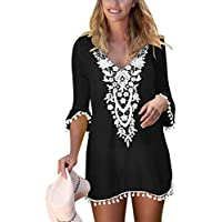 FIYOTE Women Pom Pom Trim Tassel Lace Crochet Swimwear Beach Cover up