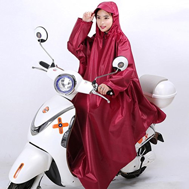 LT 電動レインコート袖付きシングル自転車ポンチョフード付き (色 : 赤ワイン, サイズ さいず : XXXL)
