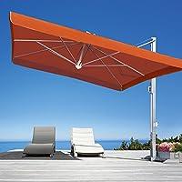 ガーデンパラソル 日よけパラソル スコラロ社 イタリア製 高級パラソル ガリレオイノックス テラコッタ フリル有り 傘幅 300cm 大型 ベース付き