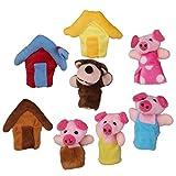 【ノーブランド品】指人形 フィンガーパペット クリスマス 家族みんなで指人形 子豚 物語 童謡 おとぎ話
