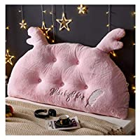 LSRRYD クッション テレビ枕三角枕腰クッション 背もたれヘッドボード枕元の背部柔らかく大きい腰部の枕洗濯できる取り外し可能な刺繍 (Color : Pink, Size : 140*70*15cm)