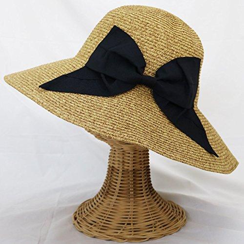 帽子 レディース 麦わら帽子 折りたたみ帽子 つば広 ハット 紫外線対策 UVハット 夏 ストローハット uvカット帽子 レディース帽子 折り畳み帽子 麦わら帽子 オシャレ つば広帽子 大きいサイズ 小顔効果 日よけ帽子 旅行 運動会 フリーサイズ57.5cm,ベージュMix.ブラック