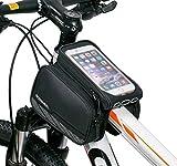 BestFire 自転車トップチューブバッグ サイクリングフレームバッグ  分離 式 自転車 バイク フレーム バック イヤホンホール付き  ポケット付き 収納可能 防水 防塵 タッチスクリーン 5.8インチスマホ対応 iPhone 6 iPhone 6 Plus 5S/ Galaxy S6/ S6 Edge/ S5/ S4/ S3/ LG G4/ G3 Nexus 5など対応 (ブラック)