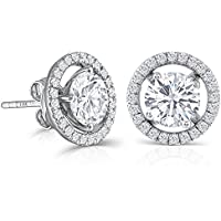 10K White Gold Post 2ct 6.5mm H color Moissanite Stud Earring with Jackets Platinum Plated Silver Push Back