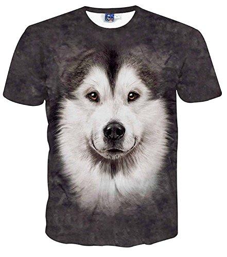(ピゾフ)Pizoff メンズTシャツ 丸首半袖 ブラック 犬柄 かわいい 軽快 肌触り 贈り物 トップスY1729-40-L