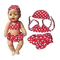 ドールビキニ+キャップ夏水着とキャップフィット43cm赤ちゃん生まれの人形18インチの女の子人形服