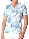 (スペイド) SPADE Tシャツ メンズ 半袖 総柄 花柄 ボーダー Vネック リゾート 【e153】