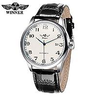 QTMIAO美しい機械式時計 WINNER458超薄型自動機械式時計メンズレザーウォッチ (Color : 1)