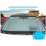 CDGroup Car Front Window Windscreen Reflective UV Laser Sun Shade Block Screen Silver Heat Reflective Foldable Car Sun Shade Windshield Visor Universal Front Sunshades 140x70cm