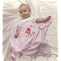 Soft and Large Baby GIRL Receiving Blanket or Swaddle Blanket and Tummy Time too! Birds and Flowers By Simplicity Designs by Simplicity Designs