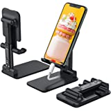 Anozer Foldable Cell Phone Stand, [2021 Updated] Angle & Height Adjustable Desk Phone Holder with Stable Anti-Slip Design Com