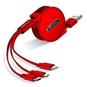 CAFELE 巻き取り式 3in1 充電ケーブル Type-C/Micro USB対応ケーブル 同時給電可 データ転送 1.2m (レッド)
