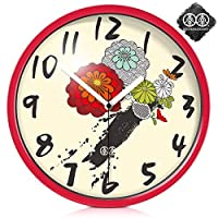 18-AnyzhanTrade 壁掛け時計サイレントムーブメント壁掛け時計ホームオフィスの装飾用リビングルームベッドルームとキッチン時計壁アートフォームパターンクリエイティブクォーツ時計 (Color : The Red Metal Box, サイズ : 12 In)