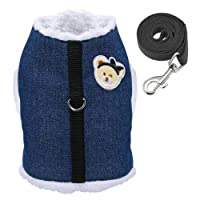 FidgetGear 柔らかく暖かい冬犬服ペット犬ウォーキングジャケットハーネスベストコート&ひも 青