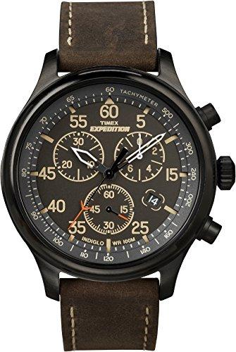 [タイメックス]TIMEX エクスペディション フィールドクロノグラフ ブラックダイアル ブラウンレザーベルト T49905 メンズ 【正規輸入品】