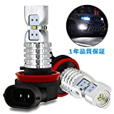 AUXITO LED フォグランプ H8 / H11 / H16 (国産車)/ H9 LED フォグ ホワイト 1500LM 銀色三角設計 12V 6000K LED素子4連 30000時間以上寿命 1年品質保証(白色 2本)