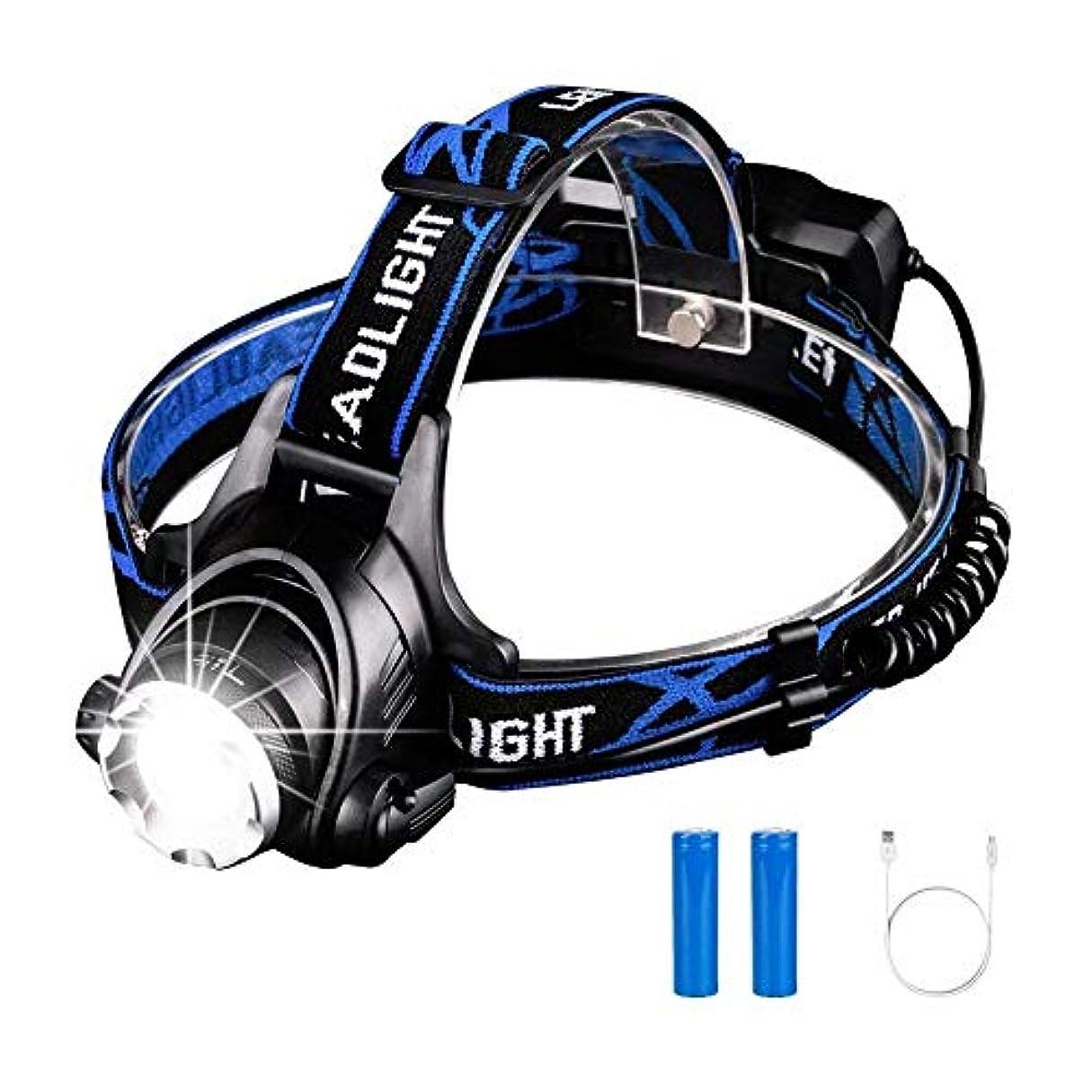 ルール個人振動させるスーパーブライトヘッドランプ、T6 LEDヘッドマウントヘッドトーチUSB充電式3モードヘルメットライトキャンプ用ランニングハイキング釣り