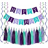 Mermaid Happy Birthday Decorations Under The Sea Birthday Banner Signs, 15pcs Tassel Garlands & 6pcs Swirls Streamers for Baby Kids Girls and Adults Mermaid Theme Party Supplies.