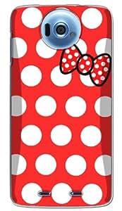 ドコモ ディズニーモバイル Disney mobile N-03E ケース カバー クリア ハード 【ドット 015】 NTT docomo レッド × ホワイト リボン 2