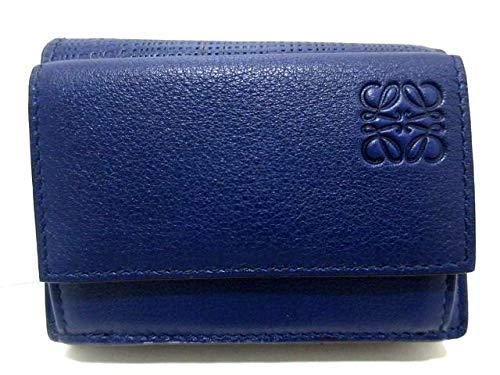 (ロエベ)LOEWE 3つ折り財布 リネン/トライフォールド ウォレット ネイビー 【中古】