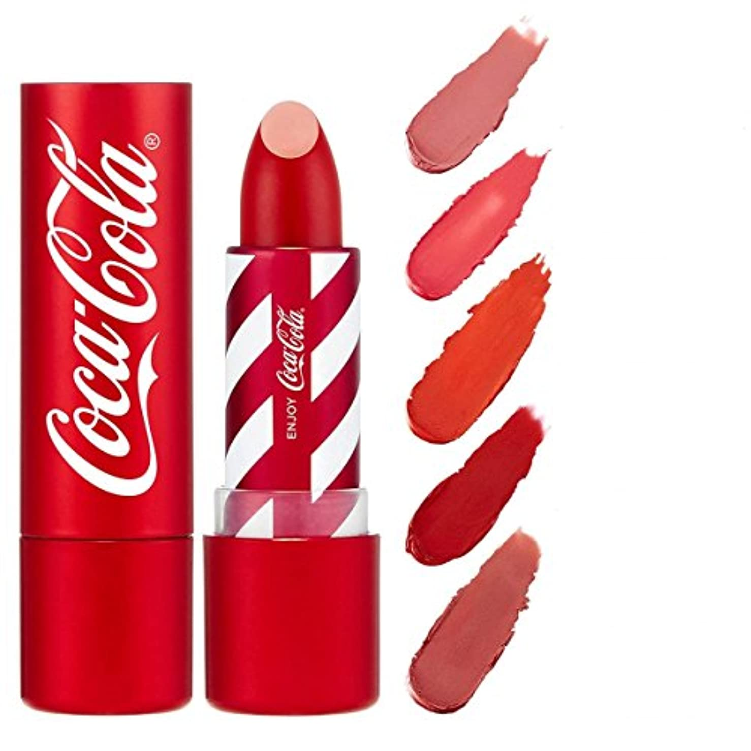 醜い聴くストライプコカ?コーラ×THE FACE SHOP リップスティック ~ コカ?コーラ公式グッズ 04 COKE RED