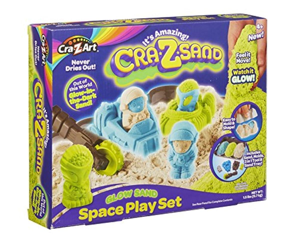 Crâ-z-sand - Kk19552 - Coffret Espace - Bac À Sable + Moules + Sable Phosphorescent Vert/bleu/beige - 700 G
