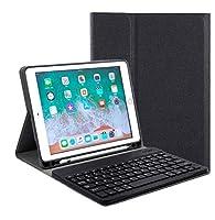 ペンホルダー付き iPad アイパッド 9.7インチ キーボード ケース 2019 新型 9.7inch iPad6 iPad5 iPad Air2 iPadPro9.7 分離式 スマートキーボード付き カバー Apple Pencil 収納用ホルダー内蔵 (iPad6/iPad5/iPadPro9.7/iPadAir/Air2, 黒+黒キーボード)