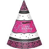 Black & Pink Happy Birthday Cone Hats - /12