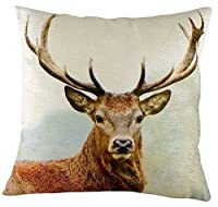 EvansリッチフィールドWild Things Stag Head Printed Velvet Filledクッション43 cm 17 ""