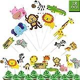GuassLee Jungle Safari Animal Cupcake Toppers Picks - 38pcs Zoo Animals Cake Decorations Food Picks Animal Theme Party Supplies for Kids Birthday Baby Shower,Animal Theme Party Decorations