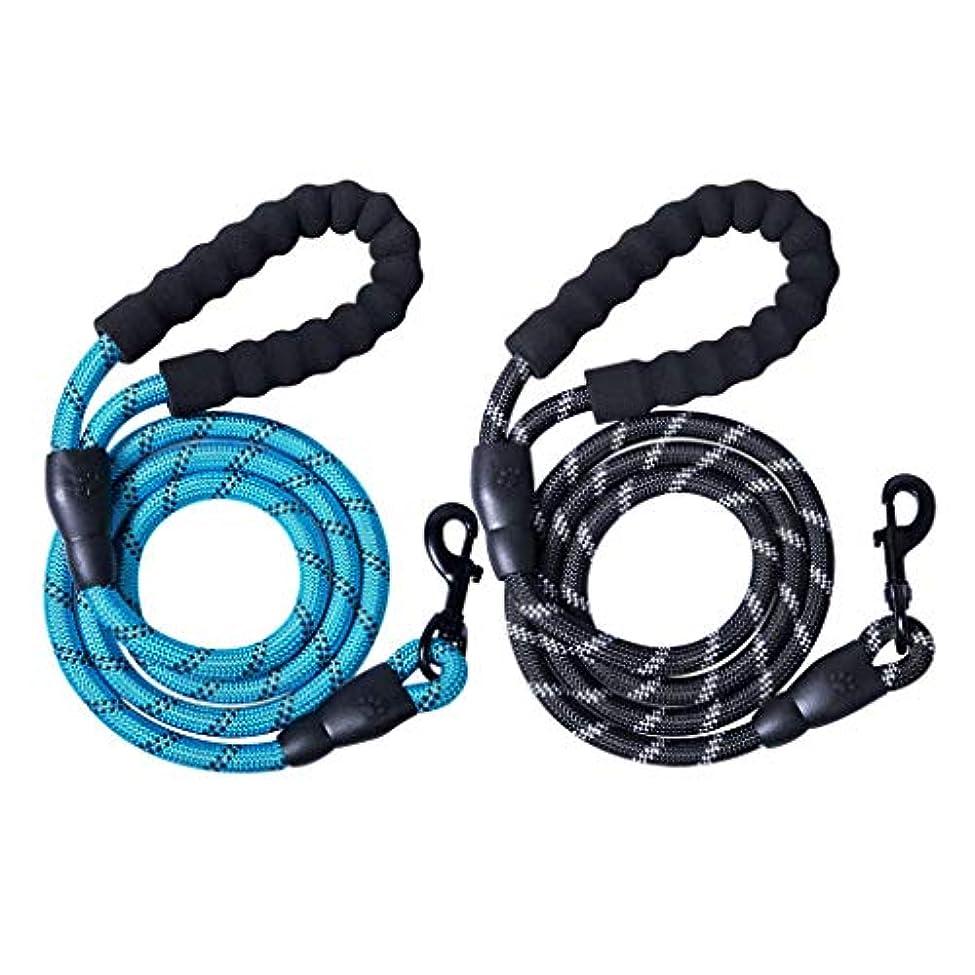 認知感染する体操Xigeapg 2パック 5フィート 強力なロープ 犬のひも 快適なパッド入りのハンドルと反射性の高い糸付き 小型中型大型犬用