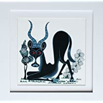ティンガティンガアート 『黒ガゼル~ホワイト~』 by アバース Sサイズ 額付き(白枠) No.2098