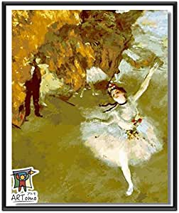 ARTomo【アトモ】パズル油絵『フレーム付き|世界名画』数字 油絵 DIY 塗り絵 本格的な油絵が誰でも簡単に楽しく描ける 40x50cm【エドガー・ドガ|踊りの花形(舞台の踊り子)】