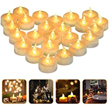 LED Light Tea Candles, 24 Electric Candles Party Decorations, Non-Toxic Smoke Free Non-Toxic Tea Light Long-Lasting Battery Life, Amber Yellow, Ideal for Votive, Halloween, Parties (24)