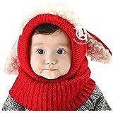 京都おかげさまで 選べるカラー 5色 ウサギちゃん ニット帽子 赤ちゃん ニット帽 ベビー & キッズ (レッド)