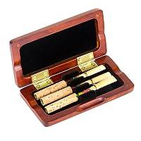 kmise オーボエリードケース メープル収納ボックス 木製リードケース 高級感 リード三枚収納可能 楽器アクセサリ(琥珀色)