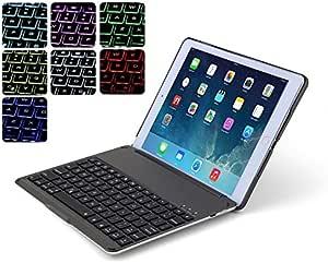 【マーサリンク】F8S iPad 9.7インチ 第5世代 2017/ 第6世代 2018年版)/Air初代 3機種通用 Bluetooth ワイヤレス キーボード ハード ケース ノートブックタイプ 7カラーバックライト付 オートスリープ機能(ブラック、シルバー、ゴールド、ローズゴールド)4カラー選択 (iPad 9.7インチ 第5世代 2017/第6世代 2018年版/iPad Air初代, ブラック)